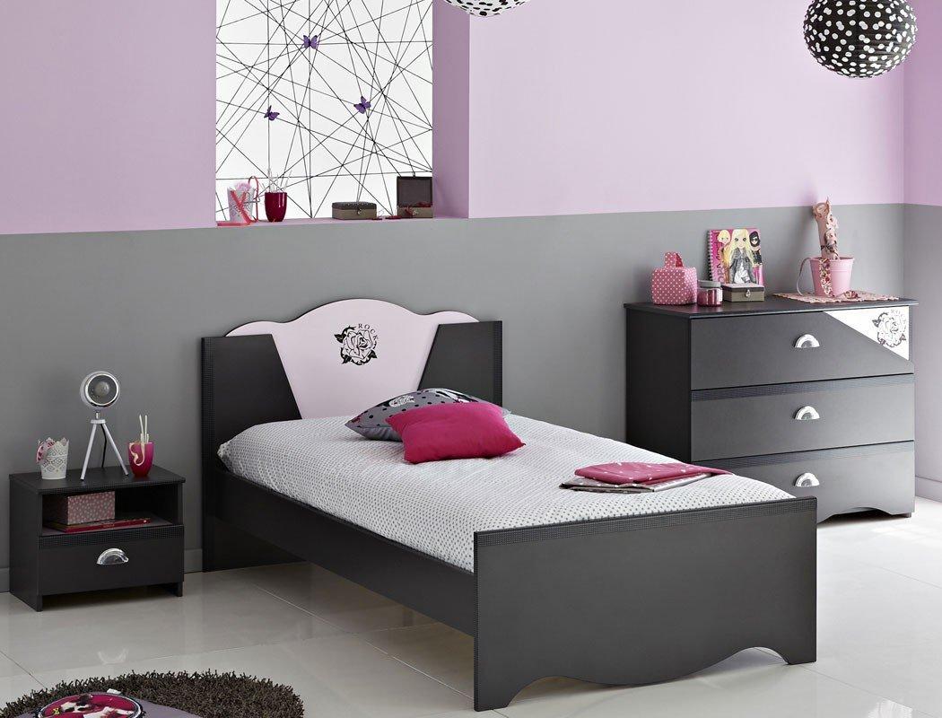 Kinderzimmer Tadeo 4 dunkelgrau rosa, Jugendbett Nachttisch Kommode, Bett Nachtkonsole Schubkastenkommode günstig bestellen