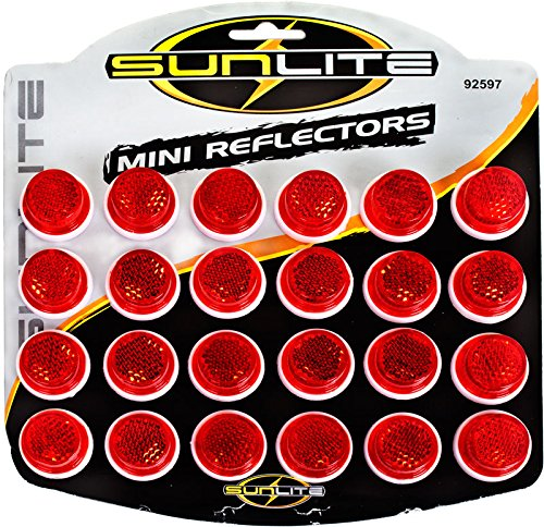 "Sunlite Carded 1"" Reflectors, Card of 24, All Red"