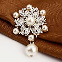 Buyinhouse New Fashion Ladies Girls Silver Plated Flashing Rhinestones Crystals Pearls Flower Petals Leaves Brooches Pin Clips All-match Clothing Accessories Suitable for Any Occasions