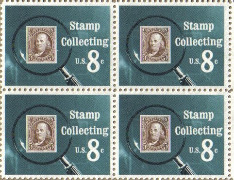 1972 STAMP COLLECTING #1474 Block of 4 x 8 cents US Postage Stamps