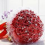 Favebridal Real Touch Flower Silk Rose Bridal Wedding Bouquet WF012RD