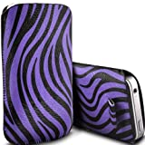 Samsung E2530 Pull Tab Zebra Case PU Leather Pocket Pouch Cover in PURPLE (S)