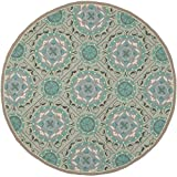 Safavieh Four Seasons Collection FRS485D Hand-Hooked Round Area Rug, 6-Feet, Mint and Aqua