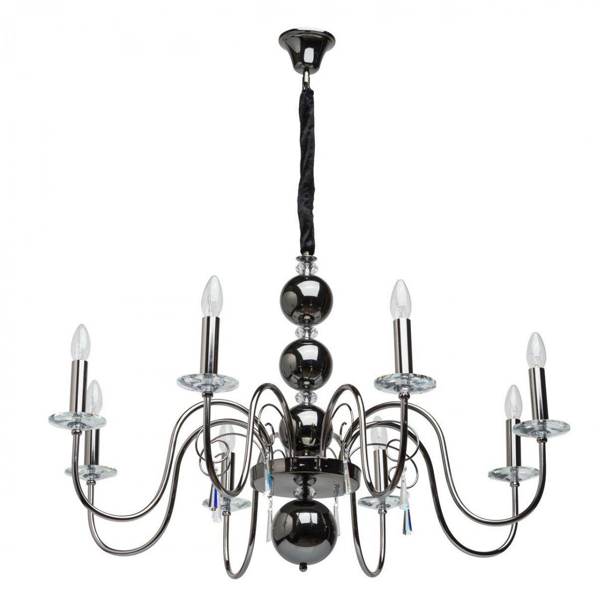 Deckenleuchte Deckenlampe Kronleuchter Leuchte Elegance Style, 8-flammig, Ø 100 cm, Nickel mit Kristallen, 8 x E14 max. 40 W