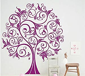 OneHouse Lucky Tree Nursery Tree Wall Decal Girl Flowers Wall Sticker Vinyl Purple Tree Decal for Living Room from OneHouse
