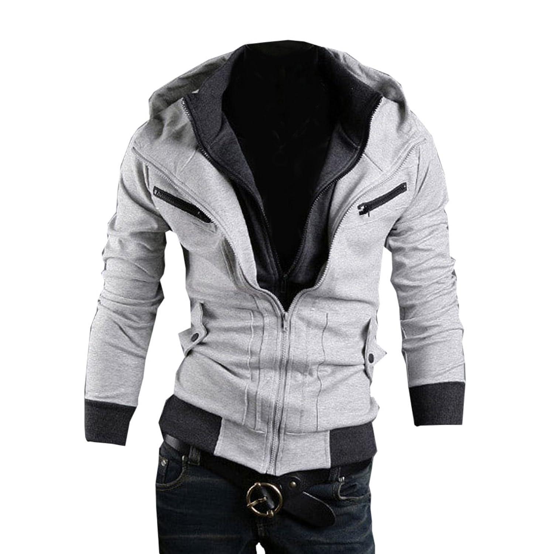 Men's Fashion Slim Fit Hoodie Casual Outerwear Zipper Closure Sweatshirt