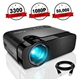Mini Projector, ELEPHAS 3300 Lumens Portable Home Theater Projector Support 1080P HD with 50,000 Hours Lamp Life Video Projector, Compatible with USB/HD/SD/AV/VGA Interfaces (Color: Black)