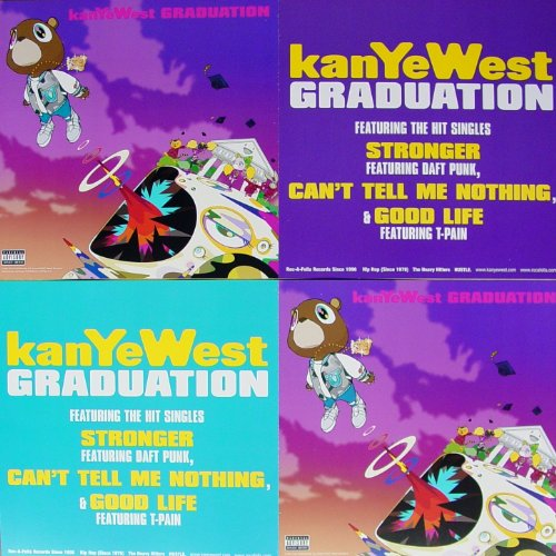 Kanye West - Graduation - Two Sided Poster - New - Rare - Kanye Omari West - Can'T Tell Me Nothing - Stronger - Flashing Lights - Good Life - The Glory - T-Pain - Lil Wayne - Mos Def