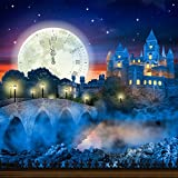 Photography Backdrop - Castle View with Clock Moon - 10x10 Ft. - 100% Seamless Polyester