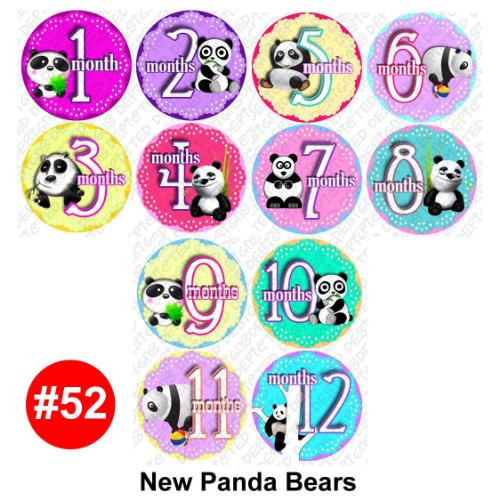 New Pandas Baby Month Onesie Stickers Baby Shower Gift Photo Shower