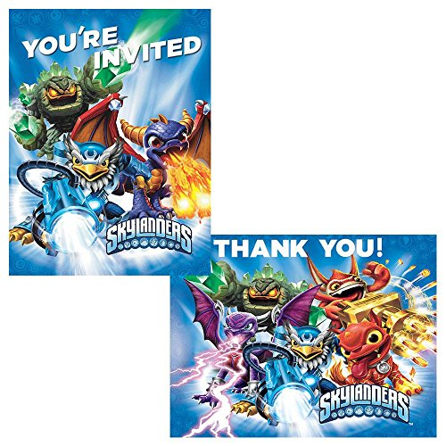 Skylanders Invite Thank You Note Cards (8 each) Invitations Birthday Party - 1