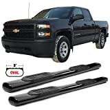 Side Step Bars Fits 2007-2018 Chevy Silverado & GMC Sierra 1500 2500 3500 Extended Cab | Black Powder Coat Finish T304 Stainless Steel Running Boards By IKON MOTORSPORTS | 2008 2009 2010 2011 2012 (Color: Black Powder Coat Finish, Tamaño: Length: 76