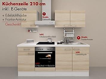 Kuchenzeile 210 cm Akazie mit Edelstahlhaube, Armatur & Glaskeramik - Arezzo