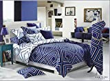 Lt Queen Size 100% Cotton 4-pieces Modern White and Blue Geometric Pattern Prints Duvet Cover Set/bed Linens/bed Sheet Sets/bedclothes/bedding Sets/bed Sets/bed Covers/5-pieces Comforter Sets (4)
