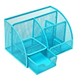 Multipurpose Metal Mesh 6 Compartment Desk Organizer Office Supply Caddy (Blue)