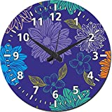 MeSleep Big Flowers Wall Clock With Glass Top