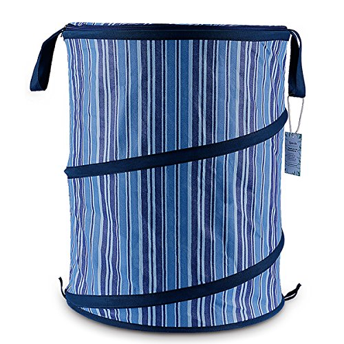 Pop-Up Denim Laundry Hamper -Navy Blue-16x22inch-Folding Baskets for College Dorm Kids Room or Bathroom (Laundry Hamper Portable compare prices)