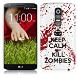 LG G2 Hard Plastic (PC) Case - Keep Calm and Kill Zombies Red/White Cover