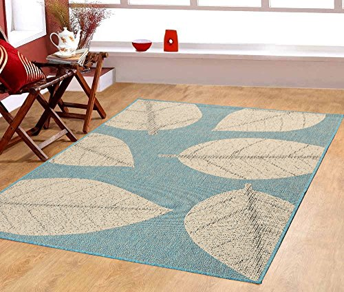 "4'5"" x7' (135x215cm) Big Leaves, Ocean Blue Indoor & Outdoor Area Rug, Easy to Clean, UV protected & Fade Resistant Furnishmyplace 0583"