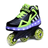 Nsasy Roller Shoes Roller Skates Shoes Girls Roller Sneakers Kids Rechargeable Roller Shoes USB Charging Roller Shoes LED Light Shoes Rechargeable Wheel Shoes Chargeable Shoes Wheel (Color: Black/Green 06(double Wheel), Tamaño: 13 M US Little Kid)
