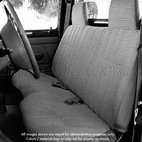 A25 Toyota Tacoma Front Solid Bench Gray Seat Covers, Triple Stitched with 8mm Extra Thick Padding, Molded Headrests, Seat Belt Cutout, Small 2