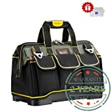 Tool Bag 16-inch Upgraded with PVC Base Tool Storage Bag Multi-Functional Large Capacity Wearproof & Waterproof Tool Tote Bag for Electricians Carpenters (Color: multicolored, Tamaño: 16in)