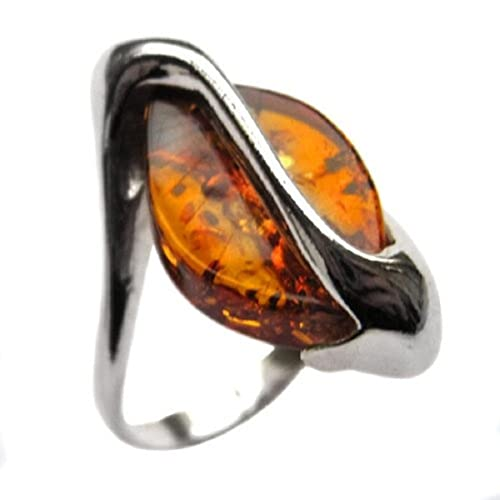 Honey Amber Sterling Silver Designer Ring
