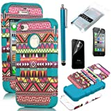 Pandamimi ULAK Hybrid High Impact Case Tribal Pink / Blue Silicone for iPhone 4 4S +Screen Protector +Stylus
