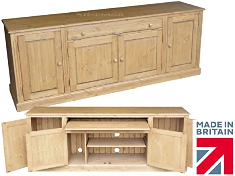 Solid Pine Desk, Traditional 7ft Wide Hidden Home Office Sideboard Desk, Hideaway Workstation. No Flat Packs, No Assembly, Choice of Finishes (SDH4)