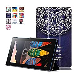 Lenovo Tab 3 7.0 Case, Lenovo Tab 3 Essential Case, Pasonomi Ultra Slim Lightweight PU Leather Folio Case Stand Cover for Lenovo Tab 3 Essential 7.0 710F 7-Inch Tablet 2016 Release, European