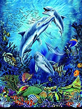 Dolphin Antics 500pc Jigsaw Puzzle by Steven Michael Gardner