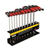 T Handle Hex Key Set with Stand, SAE, 6-Inch Blade, Chamfered End, 10 Piece Klein Tools JTH610E (Tamaño: 6-Inch)