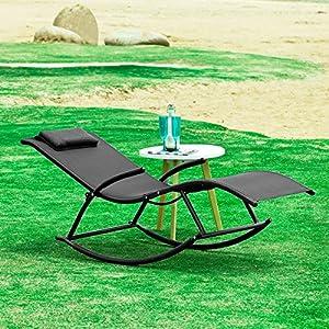 Sobuy ogs23 sch fauteuil bascule avec repose pieds pliant transat de jardin bain de soleil - Acheter fauteuil relax de jardin ...