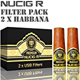 Habana Flavour NUCIG-R Replacement Pack of 2 Filters VG Premium Base for NUCIG Rechargeable Electronic Cigar Electric ecigar e cigar Ecigarette Electronic Cigarette Electric Cigarette eliquid clearomiser