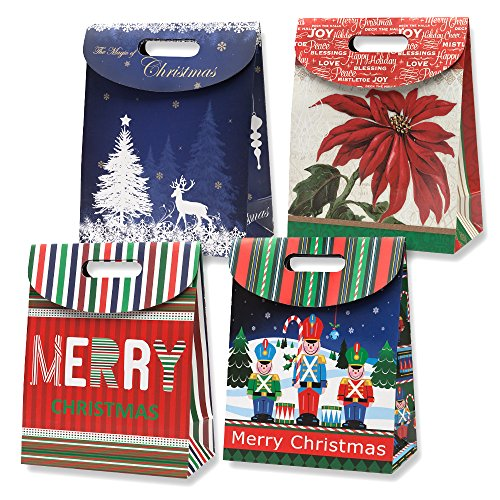 Large Foldover Christmas Gift Bags 12 Pack