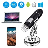 USB Microscope, with Metal Stand, 1000x Digital Handheld Microscope with 8 LED and 2 in 1 Micro USB Support for OTG Adapter, Android Smartphone, iPhone, Tablet, Widows by DigiHero Mini Camera (Color: Black)