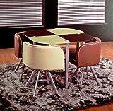 Retro-Design-Set-Stil-50er-60er-Jahre-Glastisch-Esstisch-mit-4-Sthlen-Lounge-Hocker-Braun-Beige-Karo