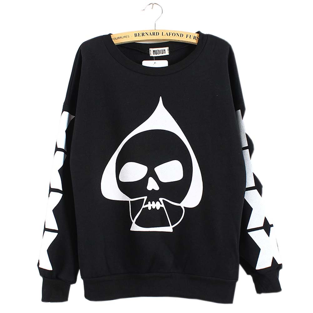 Womens Plus Size Skull Blouse Fleece Shirts Black, White