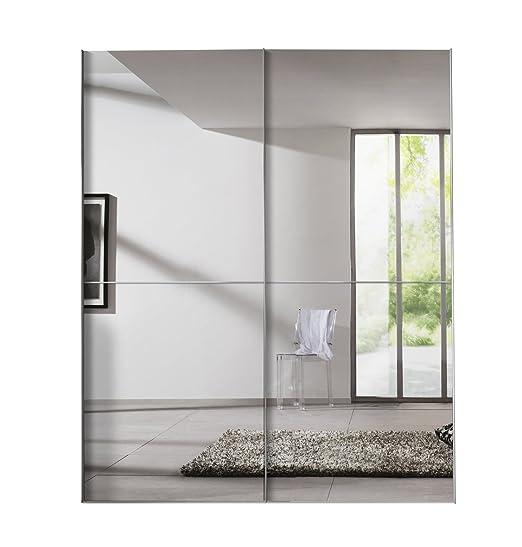 Express Möbel 04260-070 Solutions Schwebeturenschrank, 2-turig, 175 x 216 x 68 cm, Polarweiß / Spiegel, Griffe alufarben