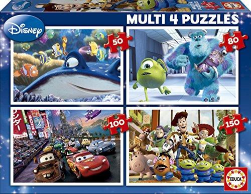 Puzzles Educa - Disney Pixar multi 4 puzzles progresivos, 50-80-100-150 piezas (15615)