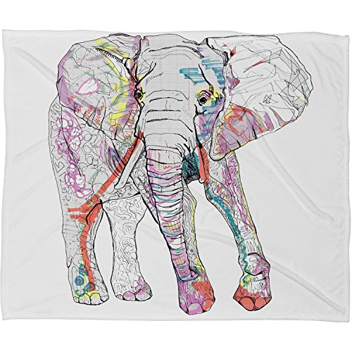 "DENY Designs Casey Rogers Fleece Throw Blanket, Elephant 1, Medium 60"" X 50"""