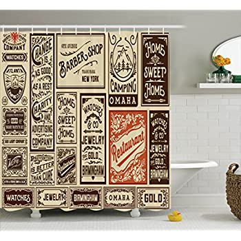 Antique Shower Curtain Decor by Ambesonne, Mega Pack Old Advertisement Designs and Labels Collections Newspaper Nostalgia Image, Polyester Fabric Bathroom Shower Curtain Set with Hooks, Ivory Brown