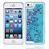 Yoption Transparent Plastic 3D Glitter Quicksand and Star Liquid Case for Apple Iphone 5 5S SE (Blue)