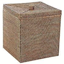 Square Rattan Storage Bin in Brown