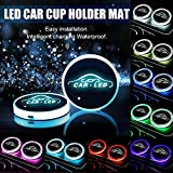 Carmoni Led Car Cup Holder Mat Pad Waterproof Bottle Drinks Coaster Built-in Vibration Automatically Turn On at Dark Universal 8-Color Light 2-Packs
