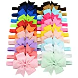 WillingTee 3 Inch Grosgrain Ribbon Hair Bows Headbands for Baby Girls Infants Kids and Toddler 20piece (Color: mix color 20pcs, Tamaño: one size)