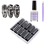 10 Rolls Black Lace Holographic Nail Foil Sticker Flower Metallic Starry Sky Manicure Transfer Decals with Nail Glue&Manicure Stick Nail Art DIY Decoration Kit for Women(1.57 inch × 47.24 inch) (Color: Sky_4)