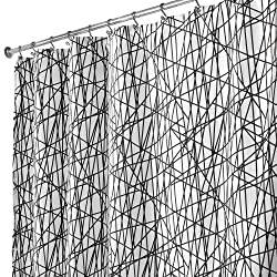 InterDesign Abstract Shower Curtain, 180 x 200 cm, Black/White