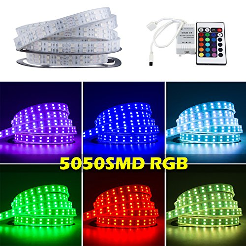 Lemonbest Newest Super Bright 16.4 Ft 5M Reel Led Strip Silicone Tube Waterproof Color Changing Smd 5050 600Leds Flexible Rgb Warm Cool White Led Lighting Strip Double Row Strip 12V For Indoor Outdoor Garden Wedding Christmas Party Holiday (Rgb, 5M Reel + front-1037721