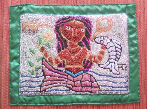 Mermaid (Lasiren) With Flower And Fish